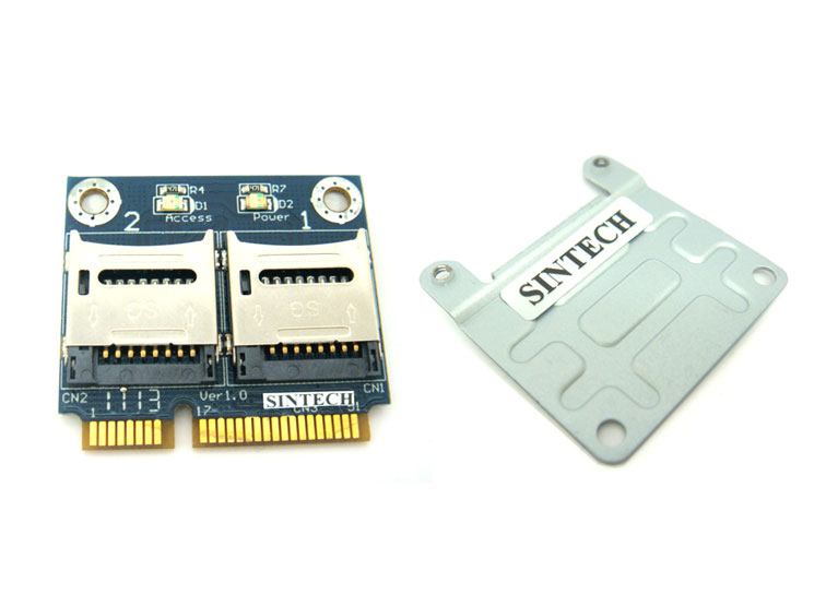 Dual Micro SDXC / SDHC / SD to half mPCIe adapter